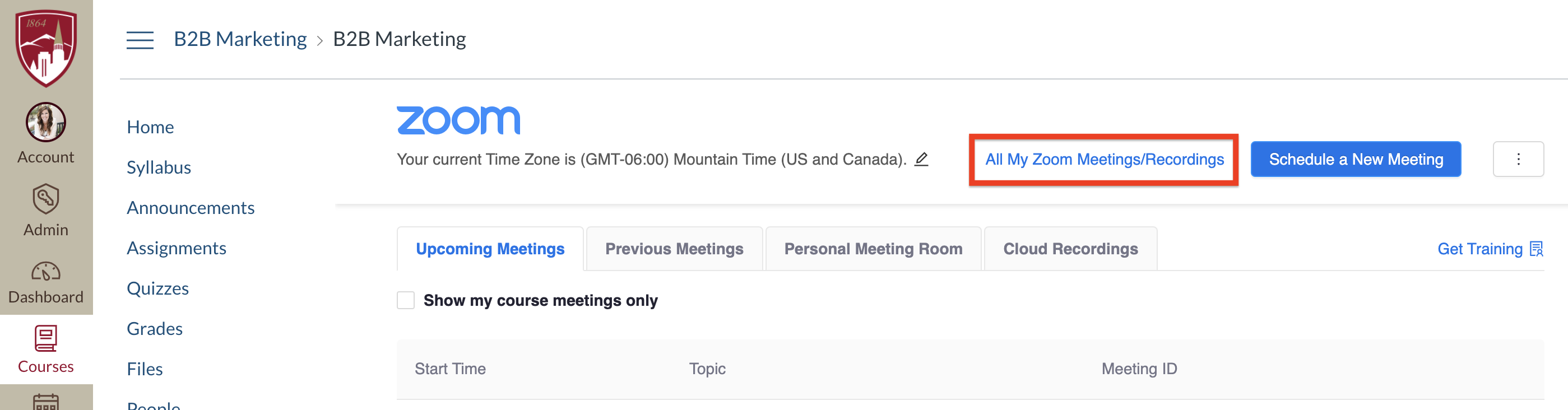 View All Zoom meetings from canvas