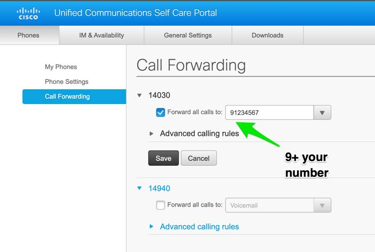 Call forwarding steps